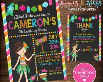 Luau Birthday Invitation, Pool Party, Luau Party, Pool Party Invitation, Hawaiian Invitation, Hawaiian Invitation + FREE THANK YOU Card