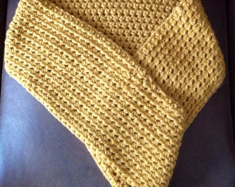 Thick chunky yellow mustard infinity scarf, wrap, eternity, snood, Ladies scarf, gift