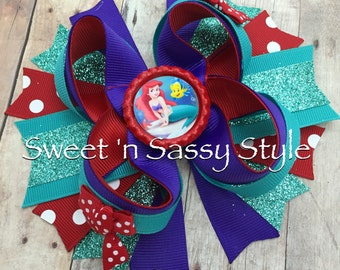"The Little Mermaid Ariel Purple, Teal and Red 5"" Stacked Boutique Hair Bow Headband Clip Barrette"