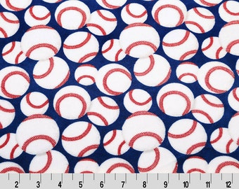 Minky Cuddle in Baseball Print on Royal from Shannon Fabric