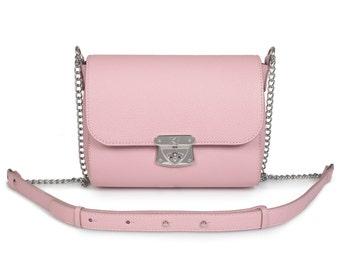 Leather Crossbody Bag, Light pink Leather Shoulder Bag, Women's Leather Cross body Bag, Leather bag KF-690