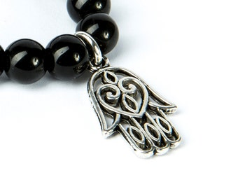 Black Onyx Gemstone Bracelet Hamsa Charm Macrame Adjustable Wrap Bracelet Charm Bracelet Unisex Evil Eye Jewellery Giftbag  Free UK Delivery