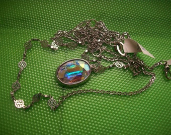 Aurora     glass               pendant ,                           chain necklace *** signed Rachel*** never worn