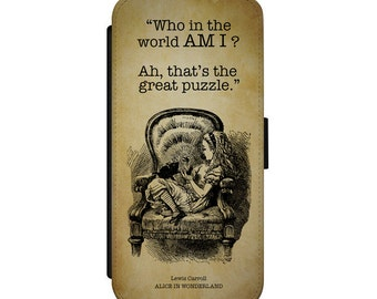 Alice in Wonderland Phone Case - iPhone Samsung Leather Wallet Flip Cover - Who in the world am I quote