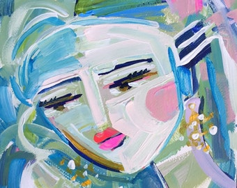 Abstract Portrait Painting, medium, 10x14, woman portrait, Vaughna, works on paper
