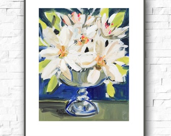 Magnolias and Peonies Abstract print on paper, print on canvas