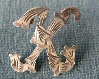 Vintage/ Mexico Mexican Silver K Brooch