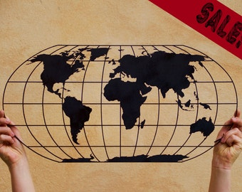 Laser Cut Wooden World Map Wall Hanging -custom made or DIY decoration