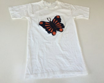 Butterfly T shirt hippie cotton applique t shirt loungewear USA