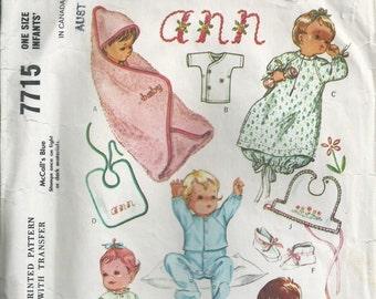 Infants' Layette - McCall's Pattern 7715 - 1964