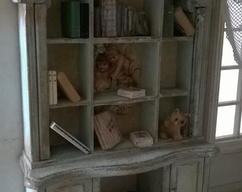 Miniatures dollhouse BOOKCASE with ANGELS-library with Angels