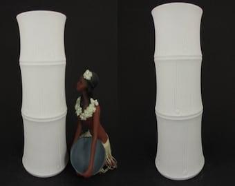"Large vintage Op-art bisque porcelain vase / Hutschenreuther (Tirschenreuth) / ""Bamboo"" | West German Pottery | 60s"