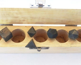 5 Piece  PYRITE CRYSTAL Platonic Solids Crystal Box Set, Sacred Geometry, Reiki, Tetrahedron, Cube, Octahedron, Icosahedron, Dodecahedron