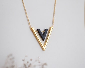 Long gold necklace, geometric gold and black necklace, arrow V minimalistic necklace