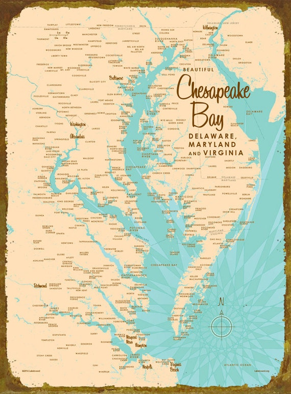 Chesapeake Bay Map Metal Sign