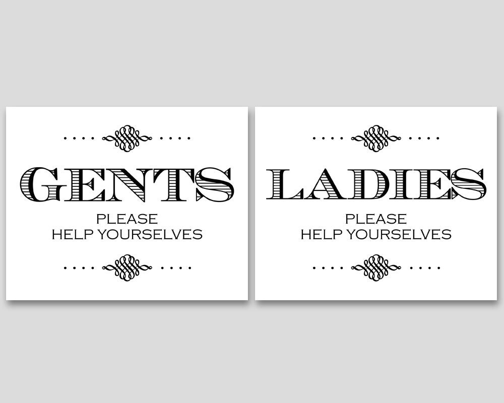 Bathroom Basket Signs For Weddings wedding bathroom sign wedding bathroom basket men's