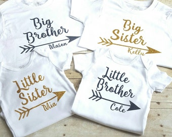 Set of four personalized sibling shirts, big brother, little brother, big sister, little sister shirts, sibling shirt, matching shirts
