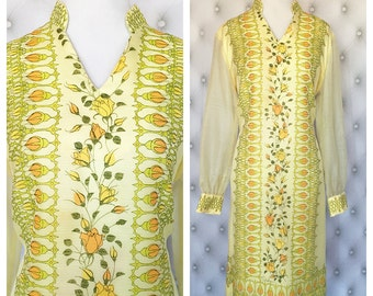 Vintage 1970's Alfred Shaheen Shift Dress Size L