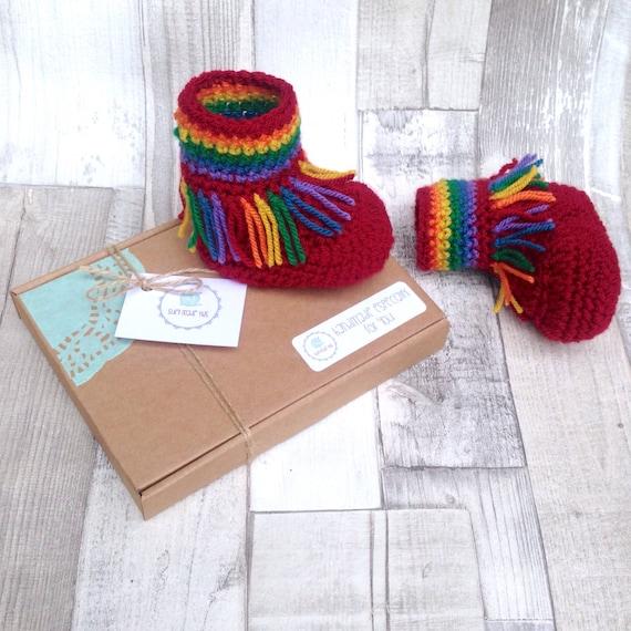 Rainbow baby booties, rainbow booties, crochet baby hippy booties, unisex baby, rainbow colours, gift, newborn, baby shower, moccasins