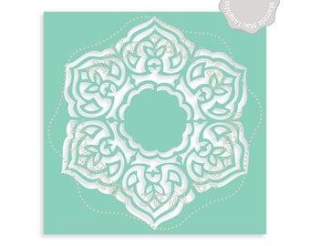 Mandala Stencil MANDALA SVG Cut file + Clipart- Decorative Indian Arabesque Flower template Svg Dxf Studio3 Png DIY round stencil Home Decor