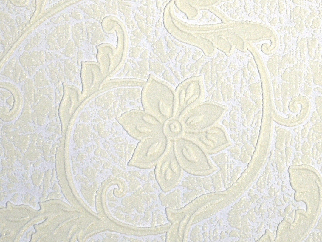 Vintage embossed wallpaper ivory paintable vinyl wallcovering for Embossed wallpaper
