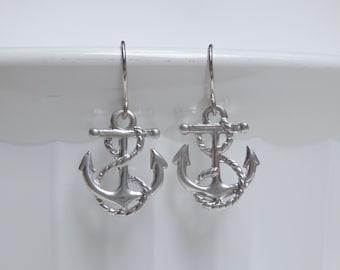 Silver Anchor Earrings, Anchor Dangle Earrings, Rope Anchor Earrings, Nautical Earrings, Ocean Earrings, Beach Earrings, Gifts for Her