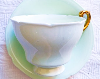 Paragon Mint Green and Gold 1930's Teacup and Saucer