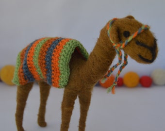 Neelde Felted Camel,Christmas decor, needle felting, handmade, felted sculpture, sheep wool