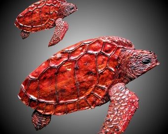 Mother and Baby Loggerhead Sea Turtle Wall Sculpture