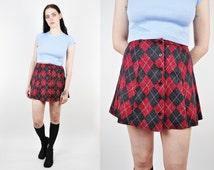 90s Argyle Mini Skirt, High Waist Skirt, Size Small, A-Line Mini-Skirt, 90s Soft Grunge Mini Skirt, Empire Records, 90s Grunge Skirt