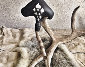 Shamanic rattle, Shaker,Rattle,Traditional Tribal Percussion Musical Instrument/ Leather & wooden handle