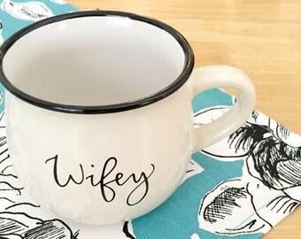 Wifey Coffee Mug-Cute Cream Ceramic Coffee Cup Gift for Bride Newlywed Wedding Gift for Wife Hand Lettered Coffee Mug Bridal Shower Gift