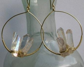 Crystal cluster hoops
