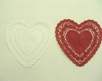 25 Heart Shaped Doilies