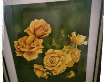 Original watercolor painting of yellow roses