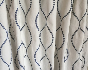 Custom Drapery, Contemporary and Geometric Pattern, Embroidered Fabric,*Scroll*, Made with Lining
