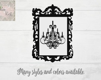 Chandelier Decal, Chandelier Wall Decor, Shabby Chic Chandelier, Glam Grunge Decal, Victorian Decal, Shabby Chic Decal, French Style Decal