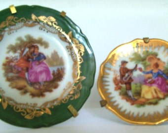 2 Limoges France Porcelain Miniature Fragonard Plates