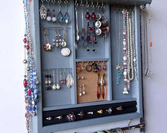 Jewelry holder. earrings display with shelf. LIGHT BLUE jewelry storage.Wooden wall mounted earring holder organizer. earrings storage rack.