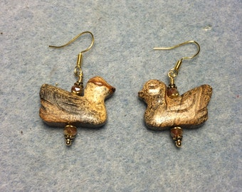 Picture jasper duck bead earrings adorned with tan Chinese crystal beads.
