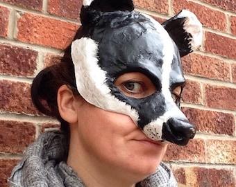 Badger mask/ Paper mache mask/papier mache mask
