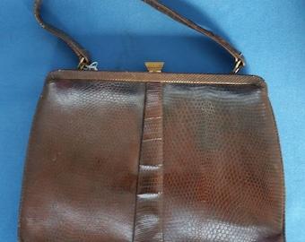 Vintage 1950s Handbag - Snake Skin Purse