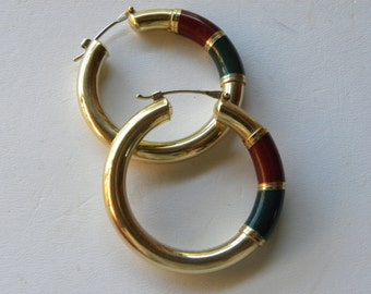 Large 14kt Gold Hoop Earrings Egyptian Nefertiti Porcelain Hoop Earrings, Hoop Earrings, Large Hoop Earrings, Egyptian Hoop Earrings