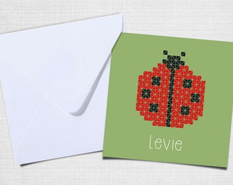 Ladybug birth announcement with envelope