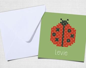 Ladybug birth announcement with envelope