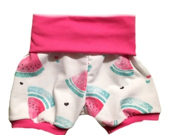 Watermelon Shorties with Watermelon Pink Cuffs and Rolled Waist Band- Baby Toddler Child custom- Handmade to order