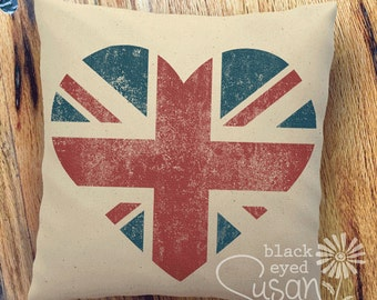 """Heart Union Jack Pillow Cover of Natural 100% Cotton Canvas or Lined Burlap   12"""" x 12"""", 16"""" x 16"""" or 20"""" x 20"""""""