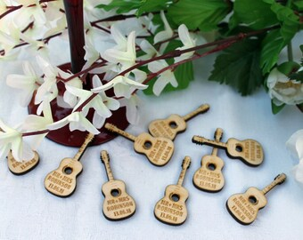 Acoustic GUITAR Wooden PERSONALISED Wedding Table Confetti Scatter Favours