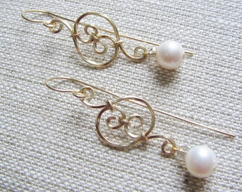 Pearl earrings, Gold filled wire dangles, bridal earrings, gold filled wire and genuine pearl dangle earrings, wirewrap boho pearl earrings