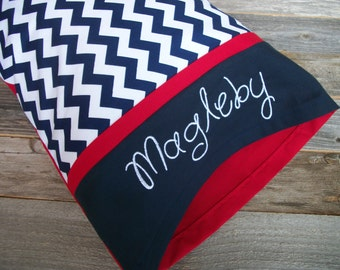 Personalized Toddler Pillow - Navy Chevron/Red Toddler/TRAVEL Size Pillow